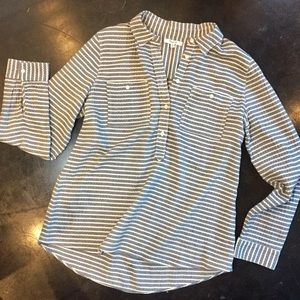 Madewell Gray-White Stripe Flannel